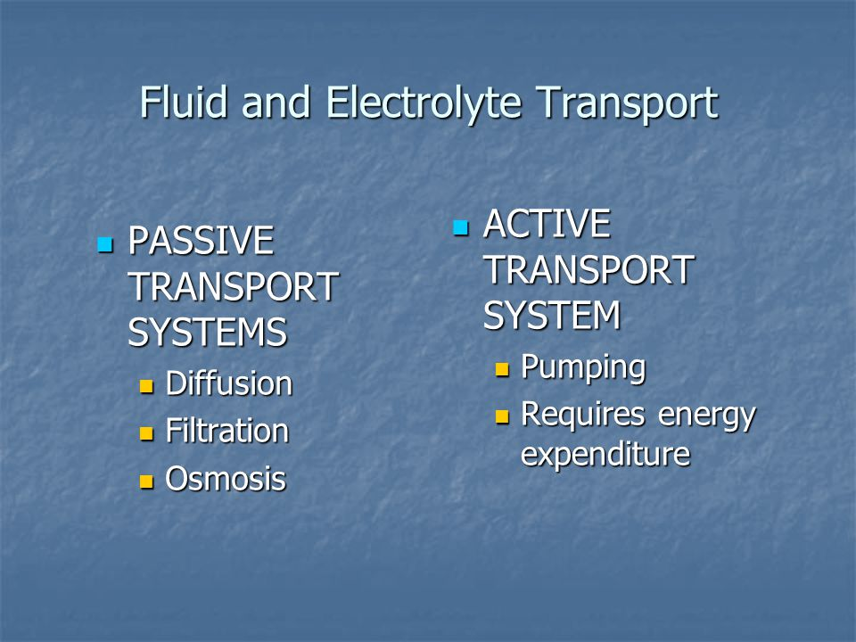 Fluid and Electrolyte Transport