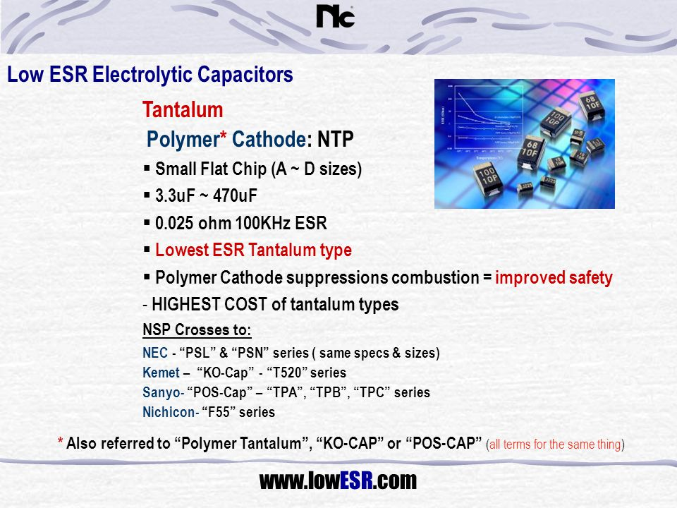 Low ESR Electrolytic Capacitors Tantalum Polymer* Cathode: NTP