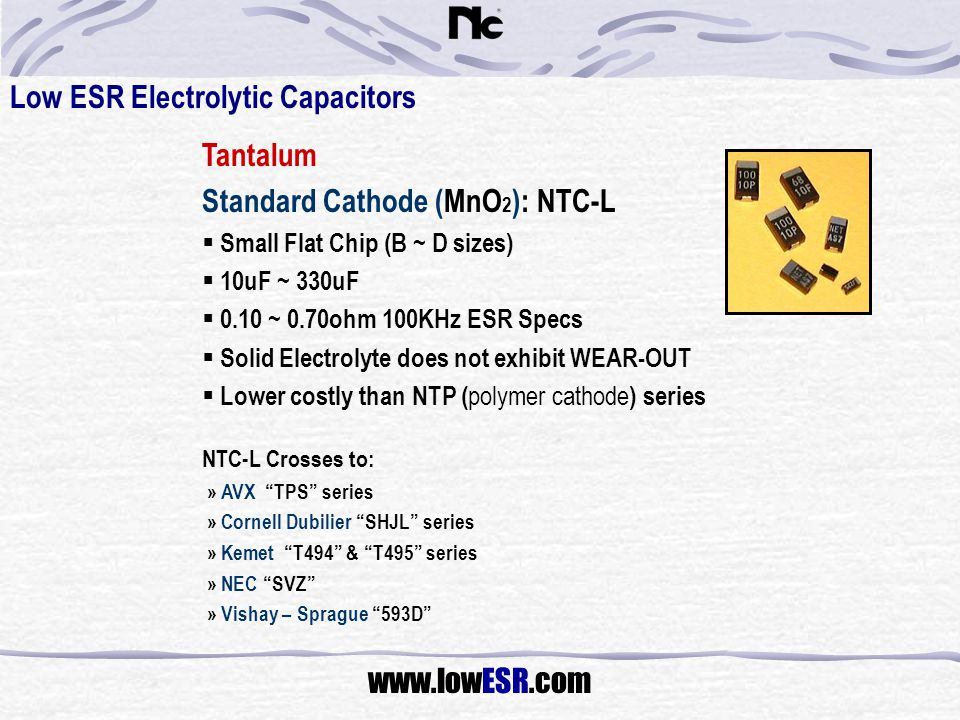 Low ESR Electrolytic Capacitors Tantalum