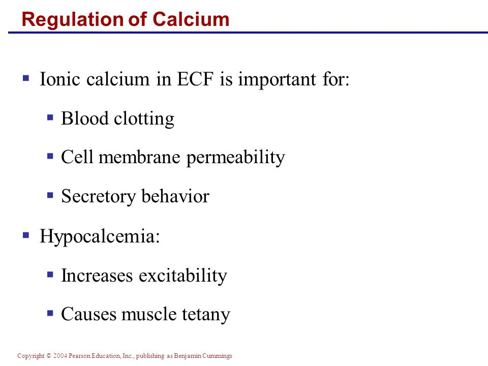 Ionic calcium in ECF is important for: