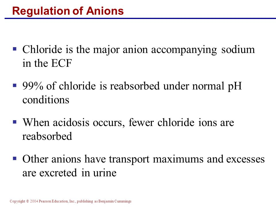 Chloride is the major anion accompanying sodium in the ECF