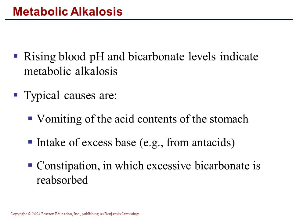 Rising blood pH and bicarbonate levels indicate metabolic alkalosis