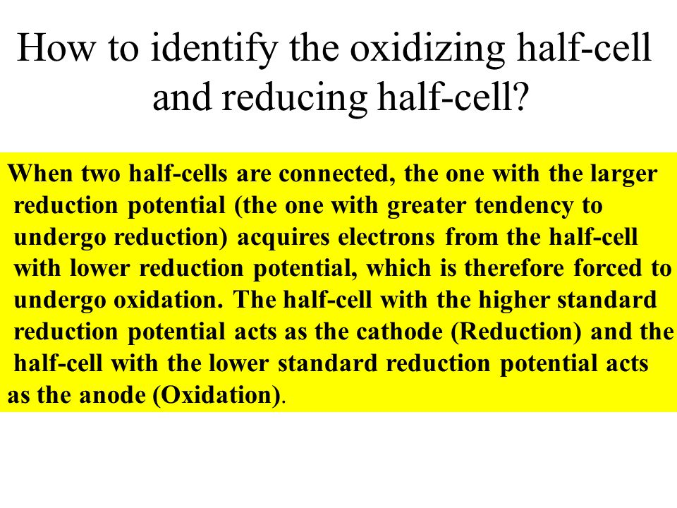 How to identify the oxidizing half-cell and reducing half-cell