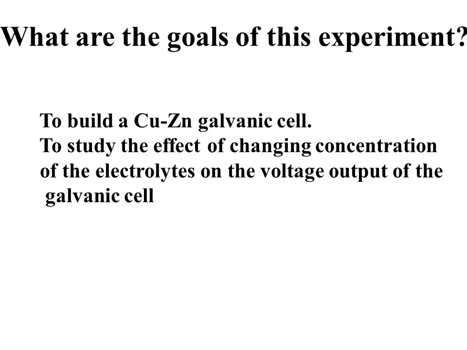 What are the goals of this experiment