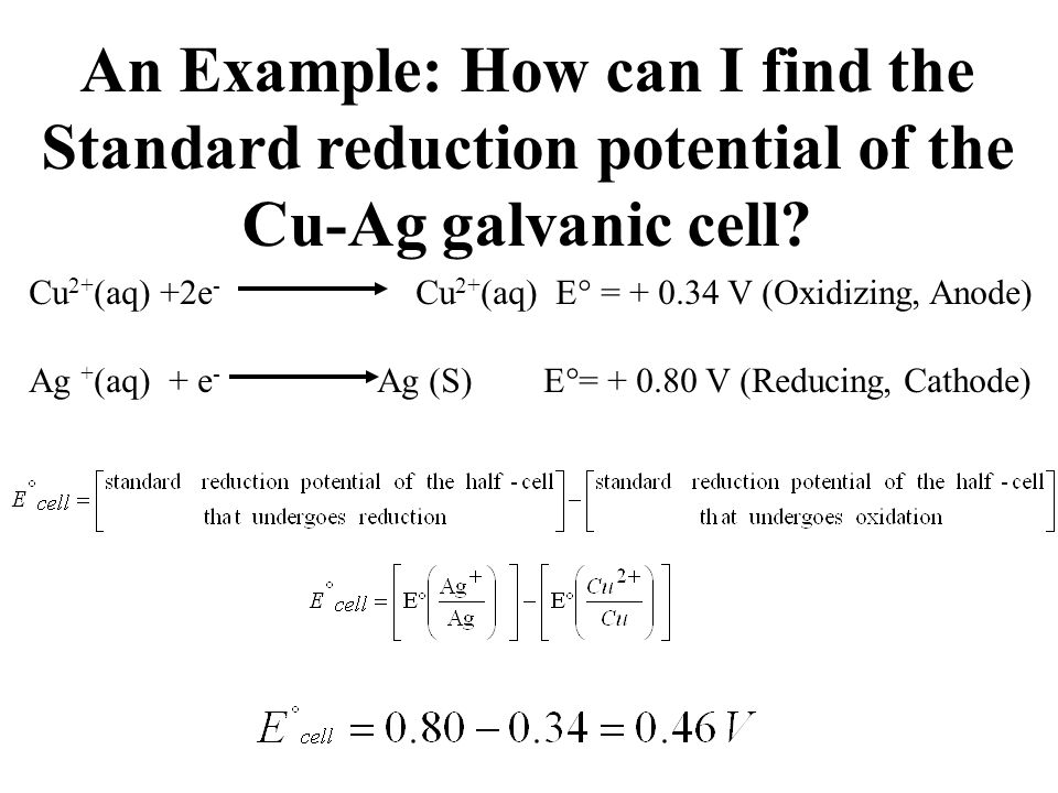 An Example: How can I find the Standard reduction potential of the