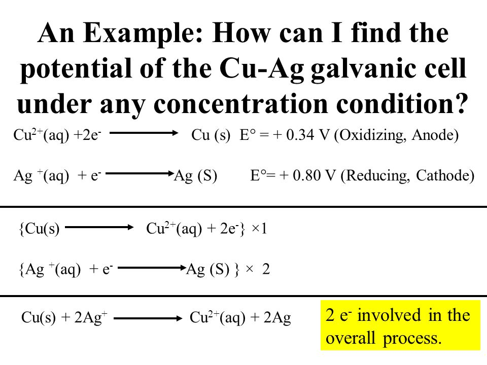 An Example: How can I find the potential of the Cu-Ag galvanic cell