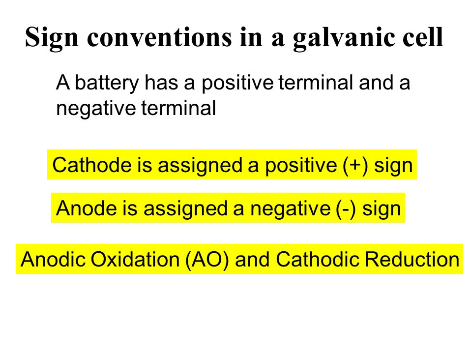 Sign conventions in a galvanic cell