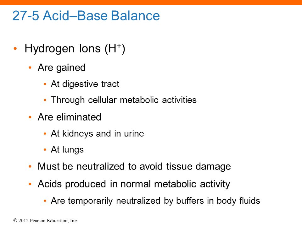 27-5 Acid–Base Balance Hydrogen Ions (H+) Are gained Are eliminated