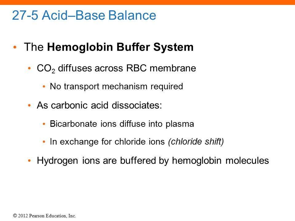 27-5 Acid–Base Balance The Hemoglobin Buffer System