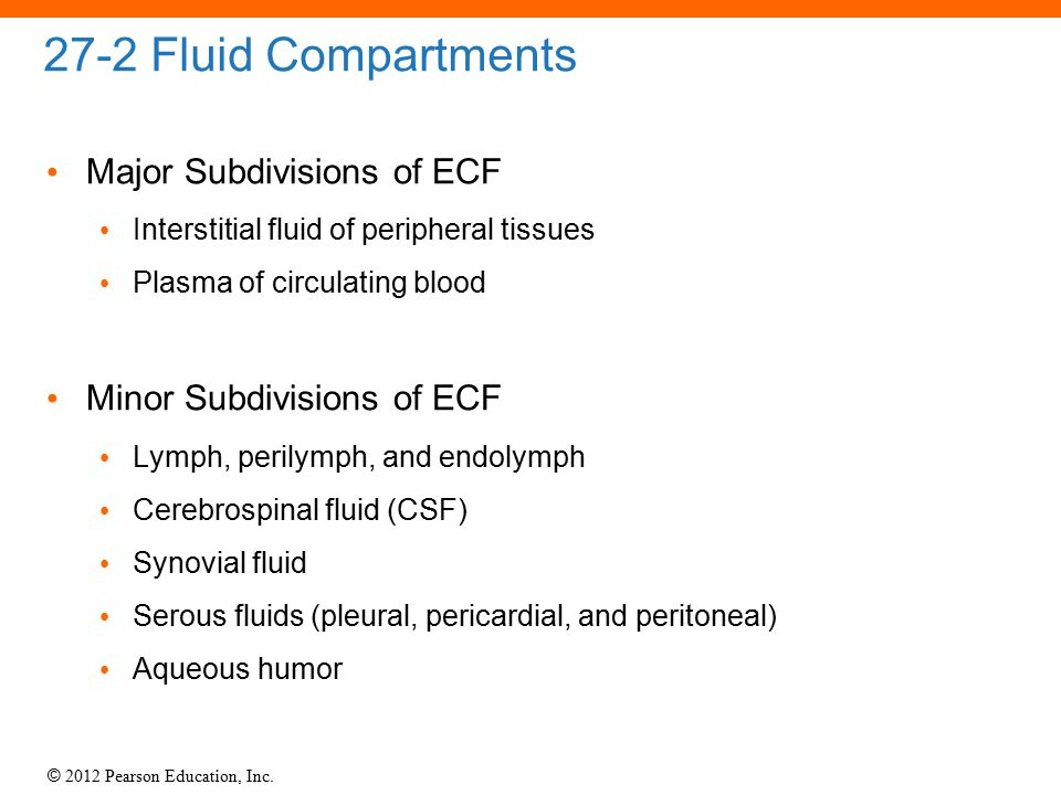 27-2 Fluid Compartments Major Subdivisions of ECF