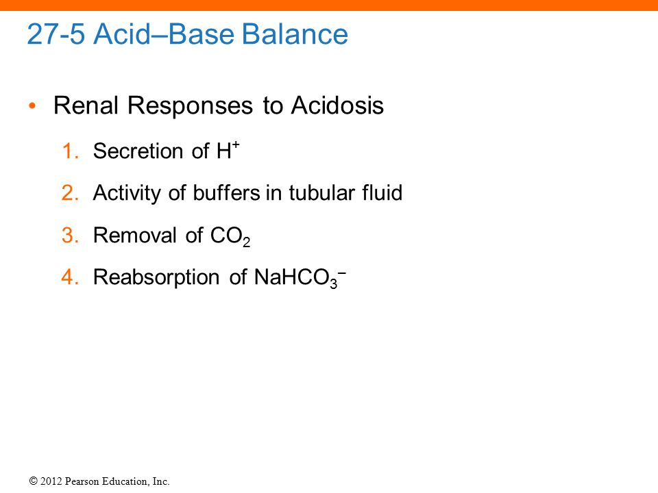 27-5 Acid–Base Balance Renal Responses to Acidosis Secretion of H+