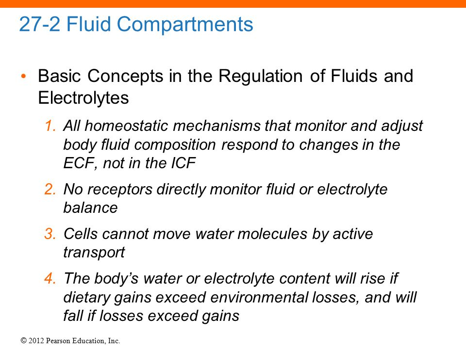 27-2 Fluid Compartments Basic Concepts in the Regulation of Fluids and Electrolytes.