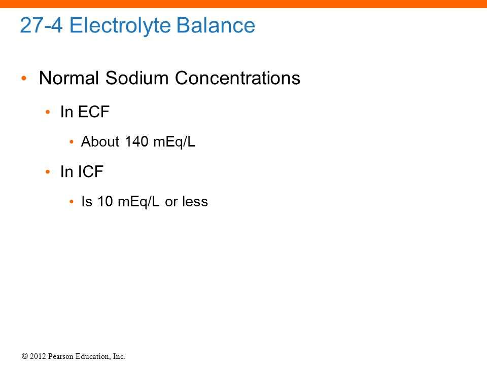 27-4 Electrolyte Balance Normal Sodium Concentrations In ECF In ICF