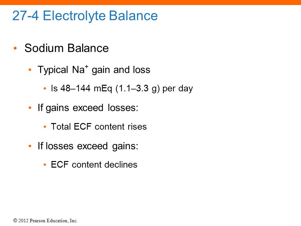 27-4 Electrolyte Balance Sodium Balance Typical Na+ gain and loss