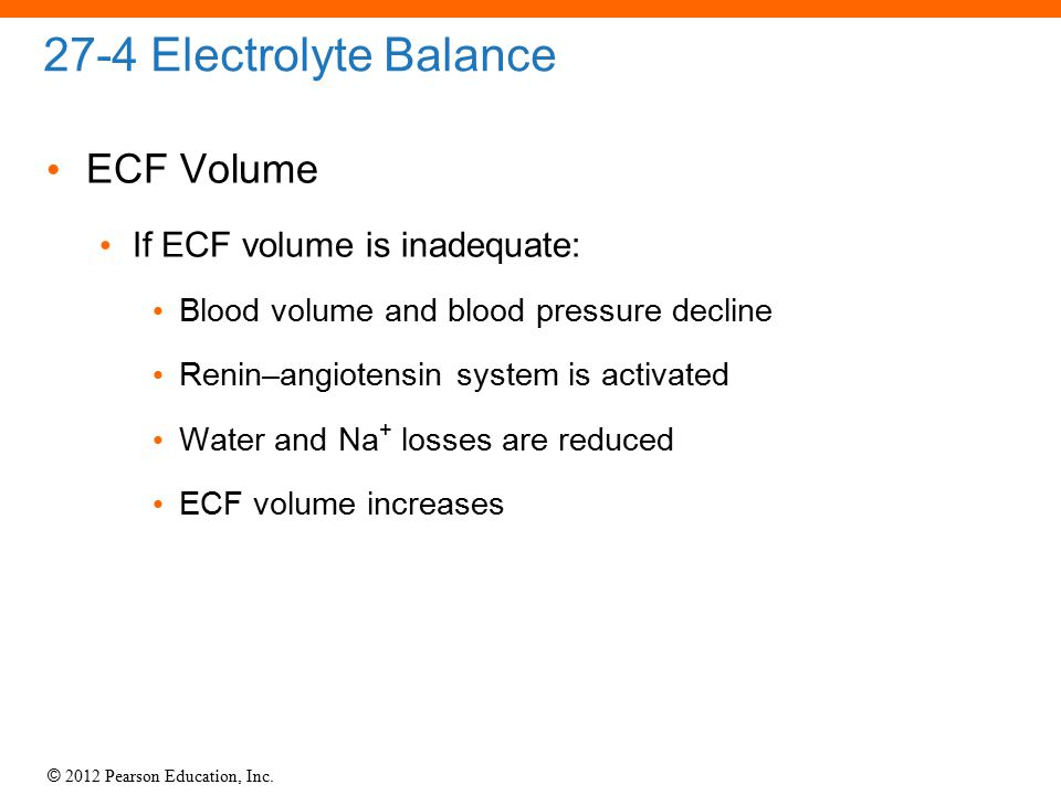 27-4 Electrolyte Balance ECF Volume If ECF volume is inadequate: