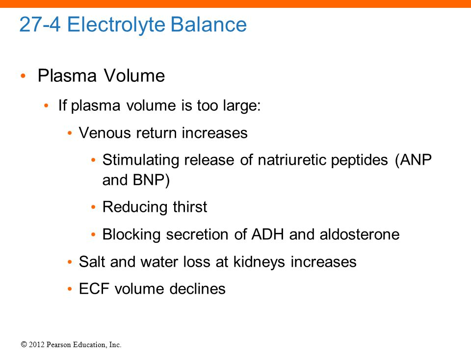 27-4 Electrolyte Balance Plasma Volume If plasma volume is too large: