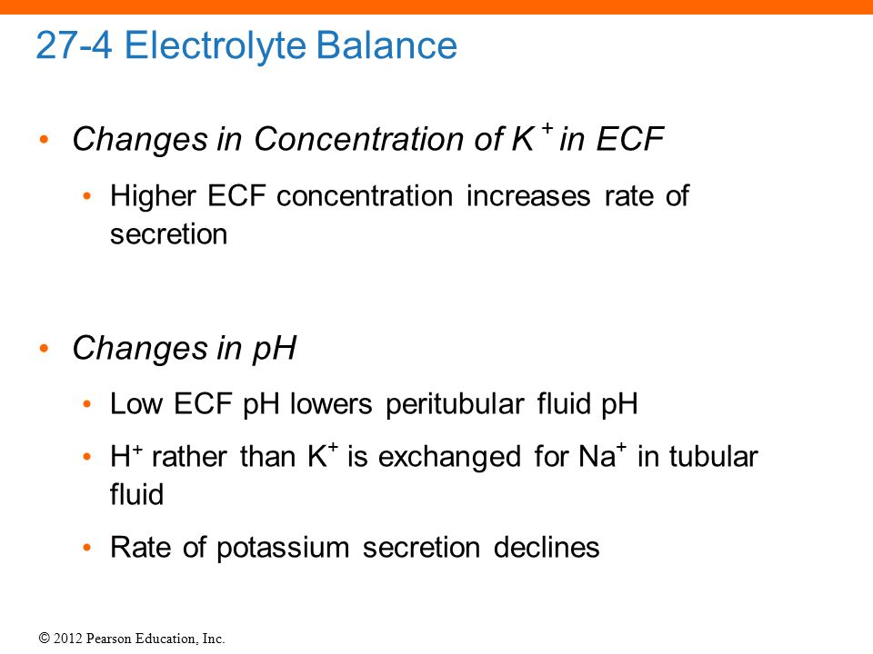 27-4 Electrolyte Balance Changes in Concentration of K + in ECF