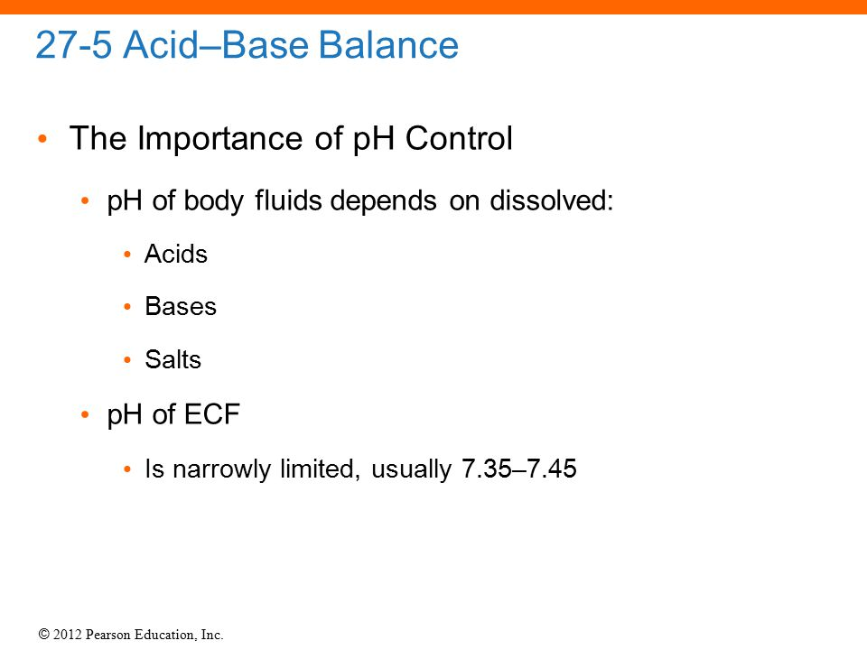 27-5 Acid–Base Balance The Importance of pH Control
