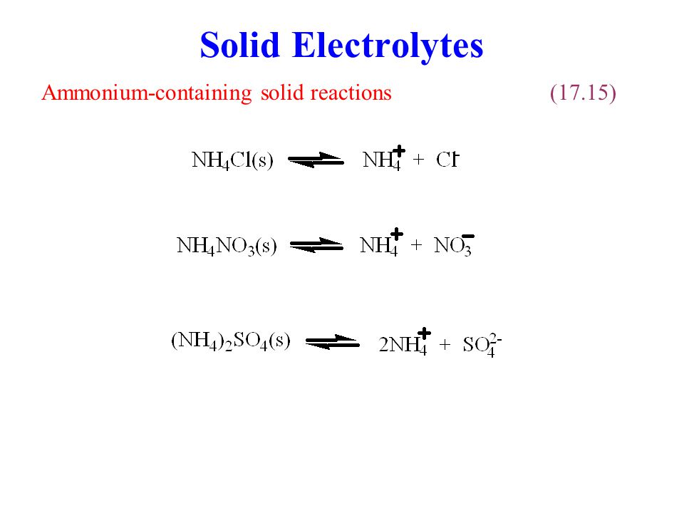 Solid Electrolytes Ammonium-containing solid reactions (17.15)