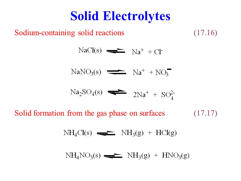 Solid Electrolytes Sodium-containing solid reactions (17.16)