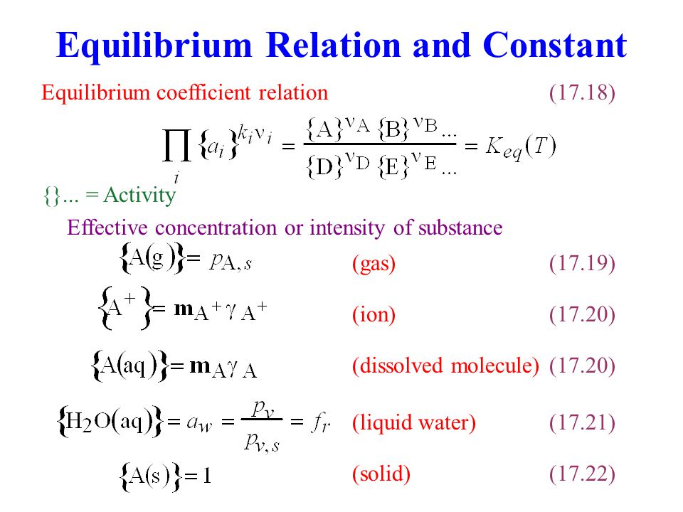 Equilibrium Relation and Constant