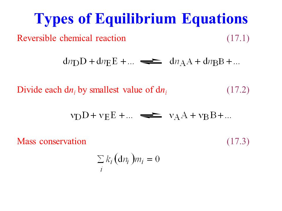 Types of Equilibrium Equations