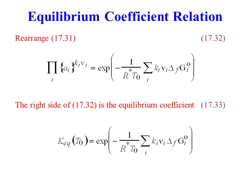 Equilibrium Coefficient Relation