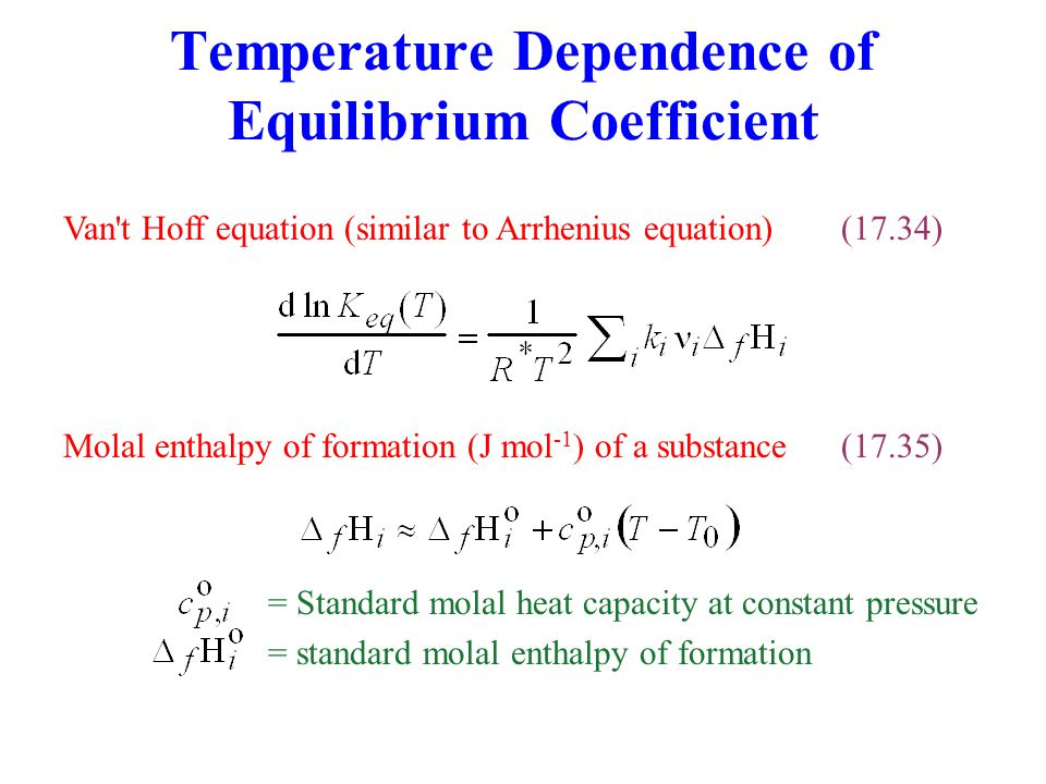 Temperature Dependence of Equilibrium Coefficient
