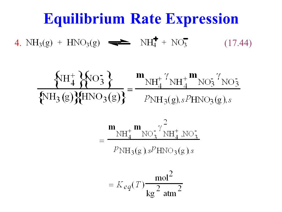 Equilibrium Rate Expression
