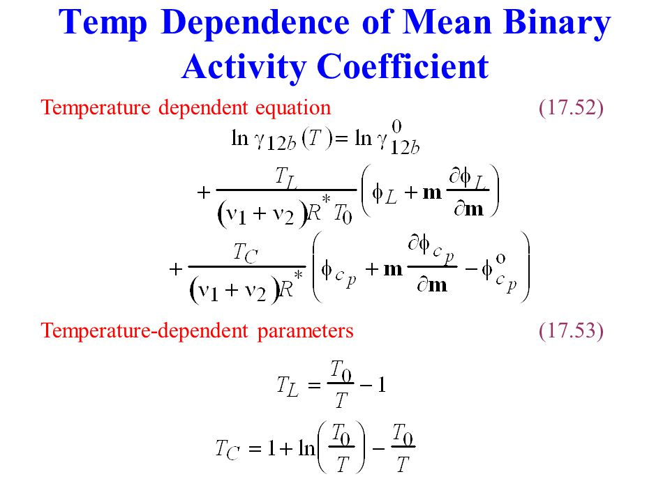 Temp Dependence of Mean Binary Activity Coefficient