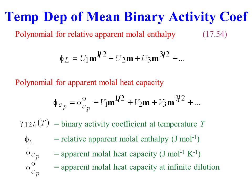 Temp Dep of Mean Binary Activity Coef
