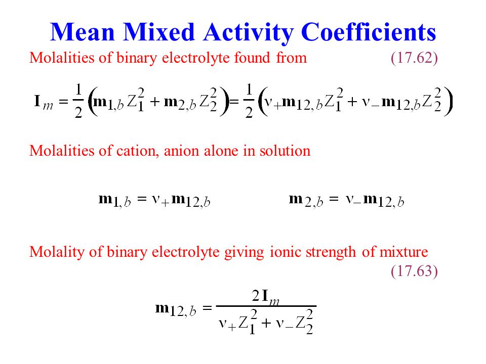 Mean Mixed Activity Coefficients