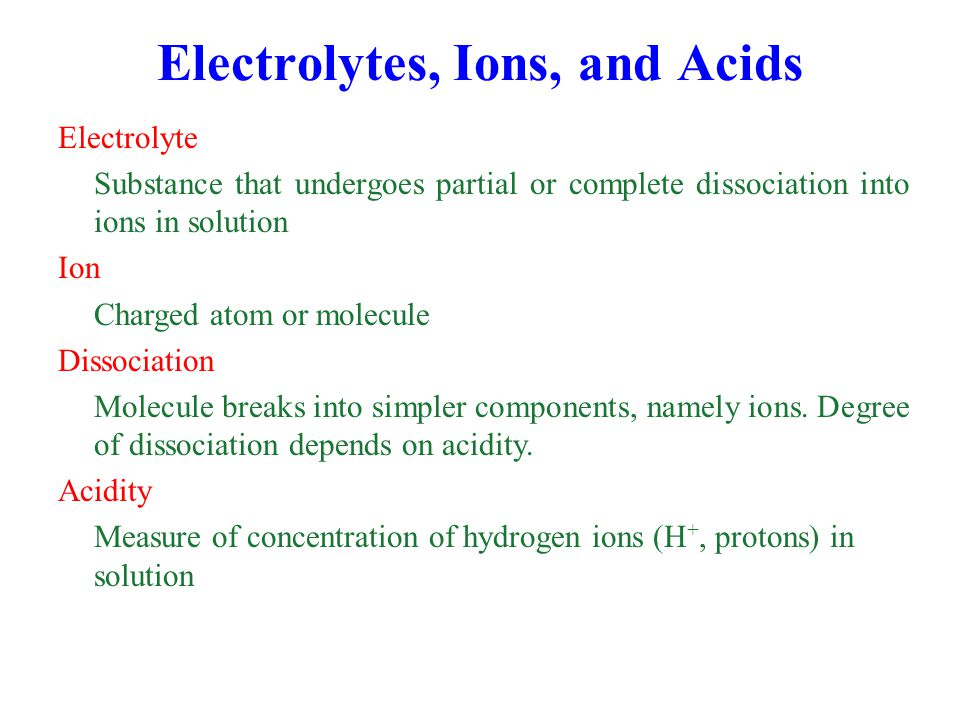Electrolytes, Ions, and Acids
