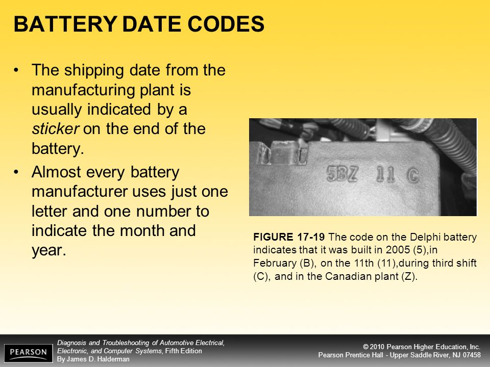 BATTERY DATE CODES The shipping date from the manufacturing plant is usually indicated by a sticker on the end of the battery.