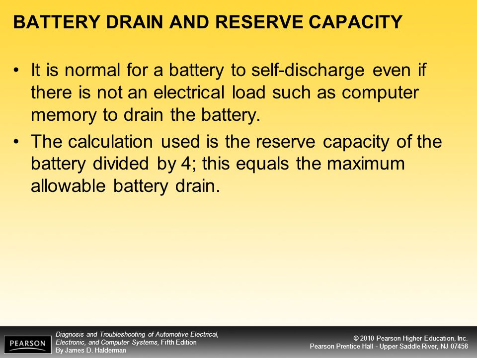 BATTERY DRAIN AND RESERVE CAPACITY