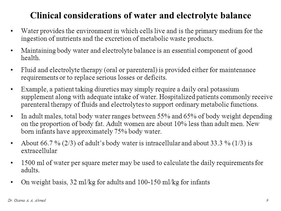 Clinical considerations of water and electrolyte balance