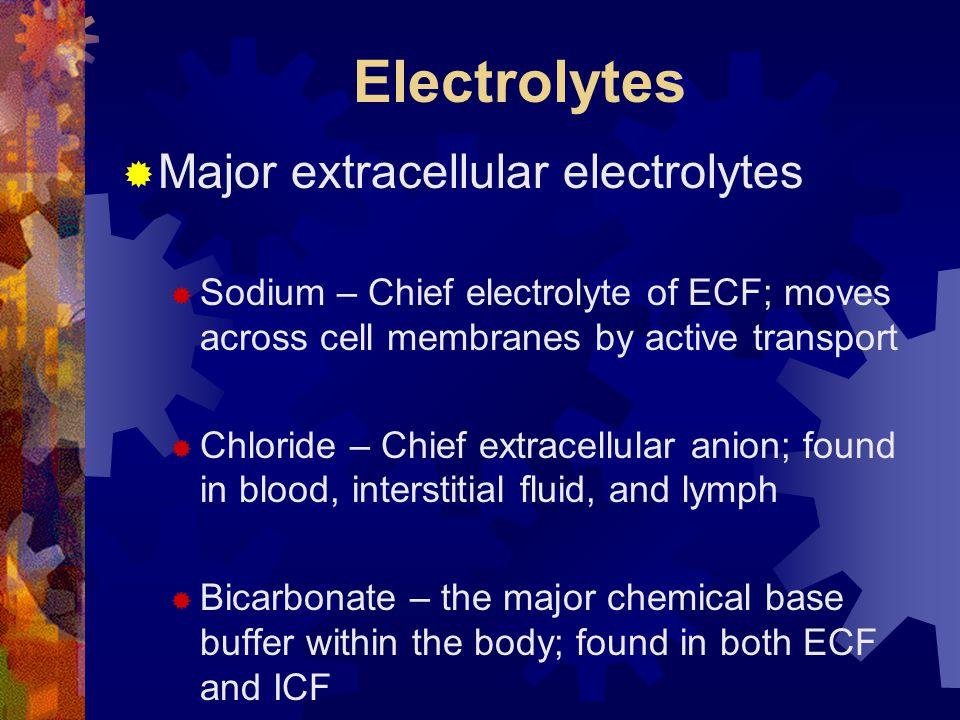 Electrolytes Major extracellular electrolytes