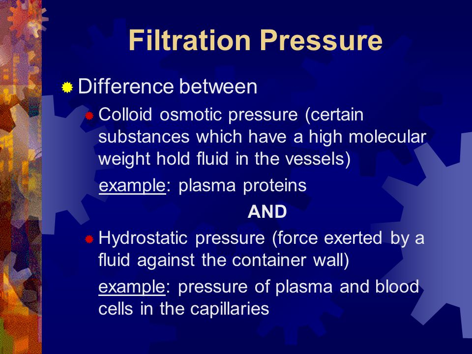 Filtration Pressure Difference between