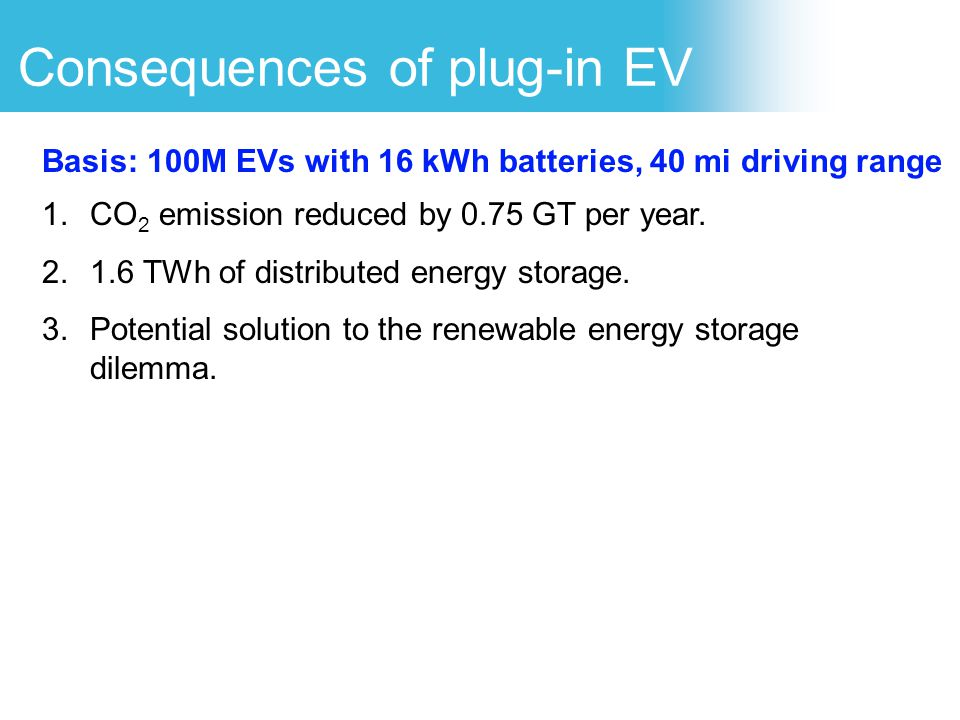 Consequences of plug-in EV