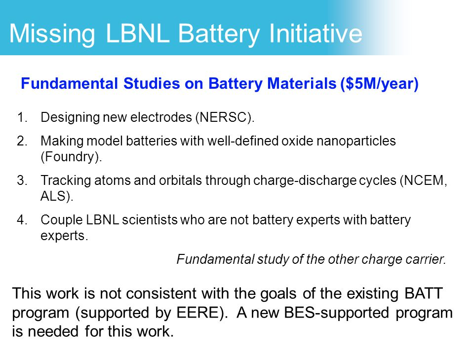 Missing LBNL Battery Initiative