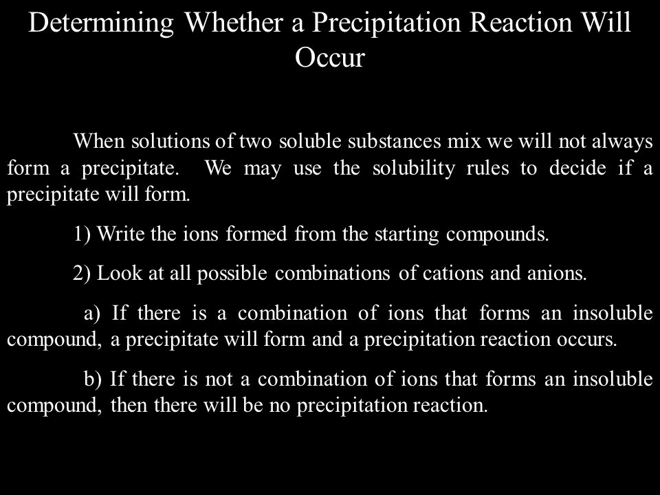 Determining Whether a Precipitation Reaction Will Occur