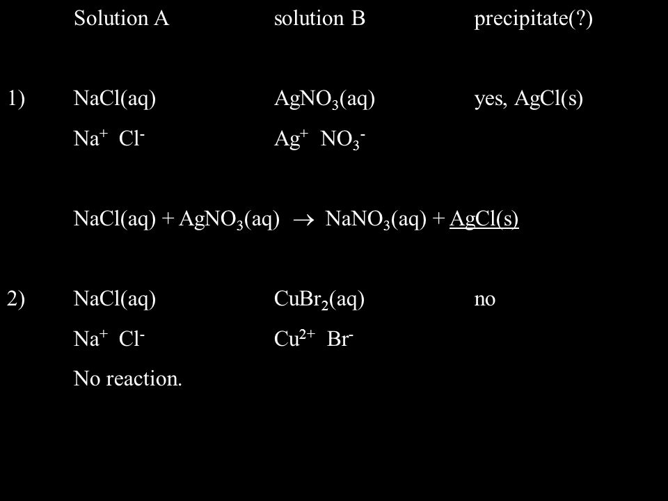 Solution A solution B precipitate( )