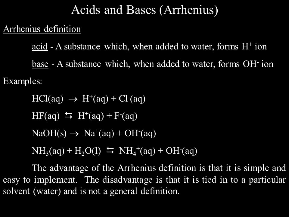 Acids and Bases (Arrhenius)
