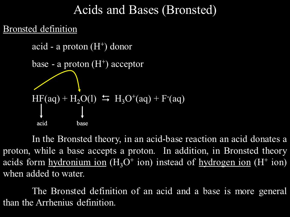 Acids and Bases (Bronsted)