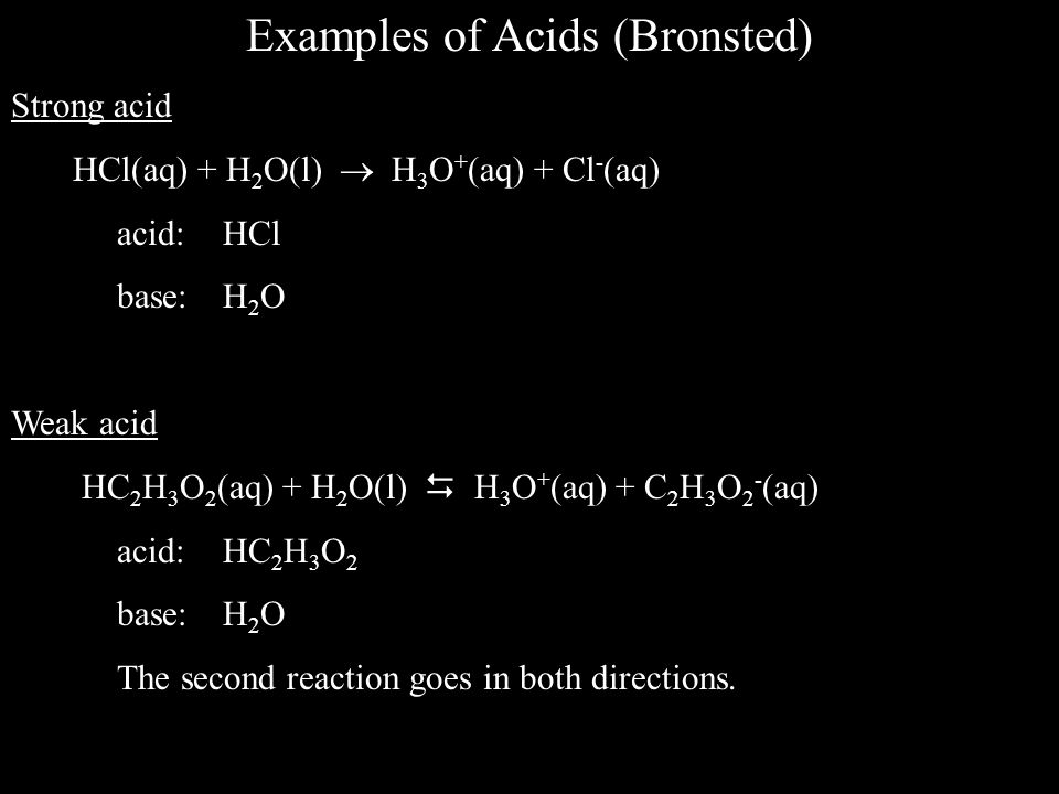 Examples of Acids (Bronsted)