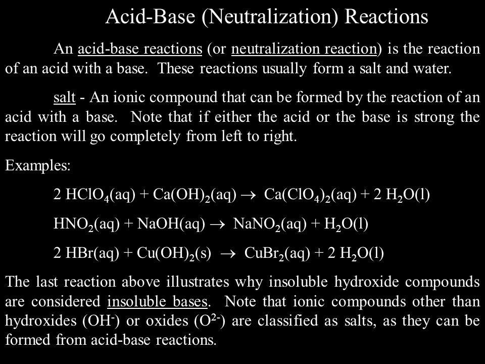 Acid-Base (Neutralization) Reactions