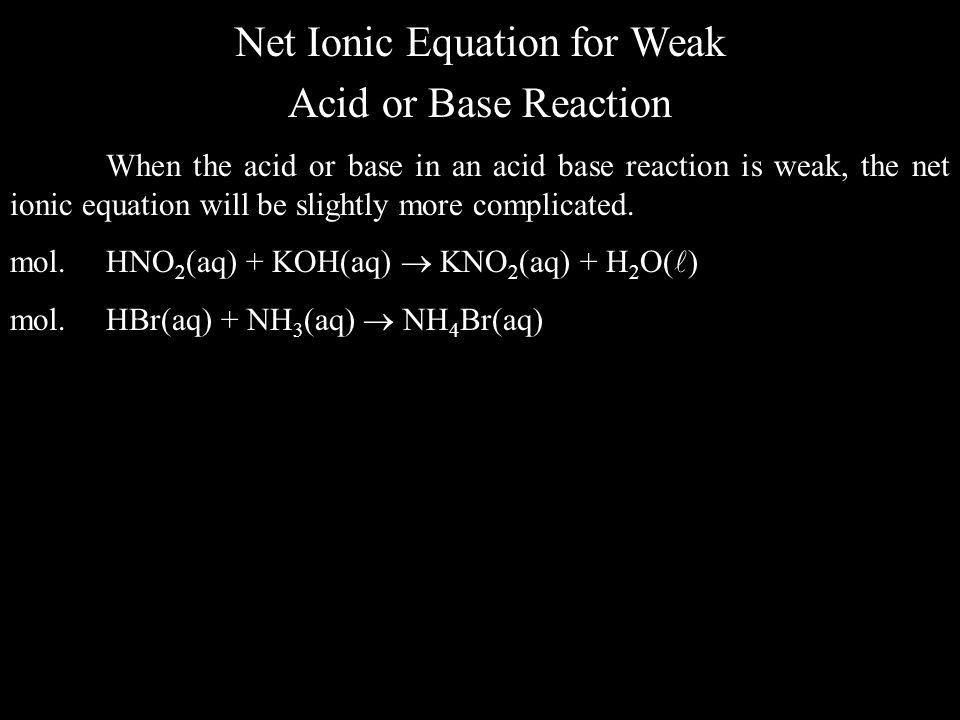 Net Ionic Equation for Weak