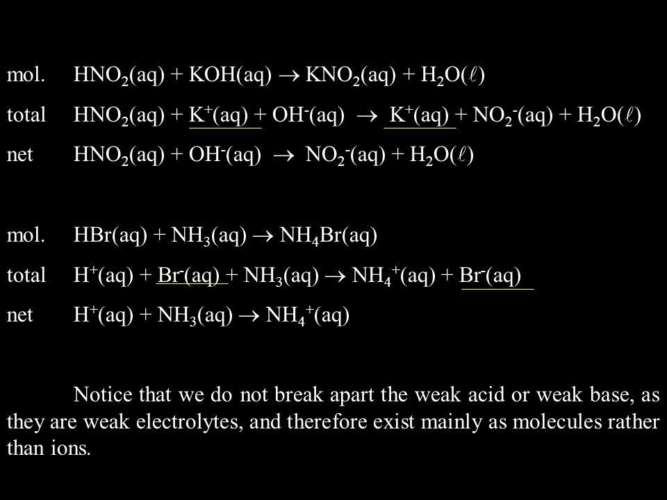 mol. HNO2(aq) + KOH(aq)  KNO2(aq) + H2O()