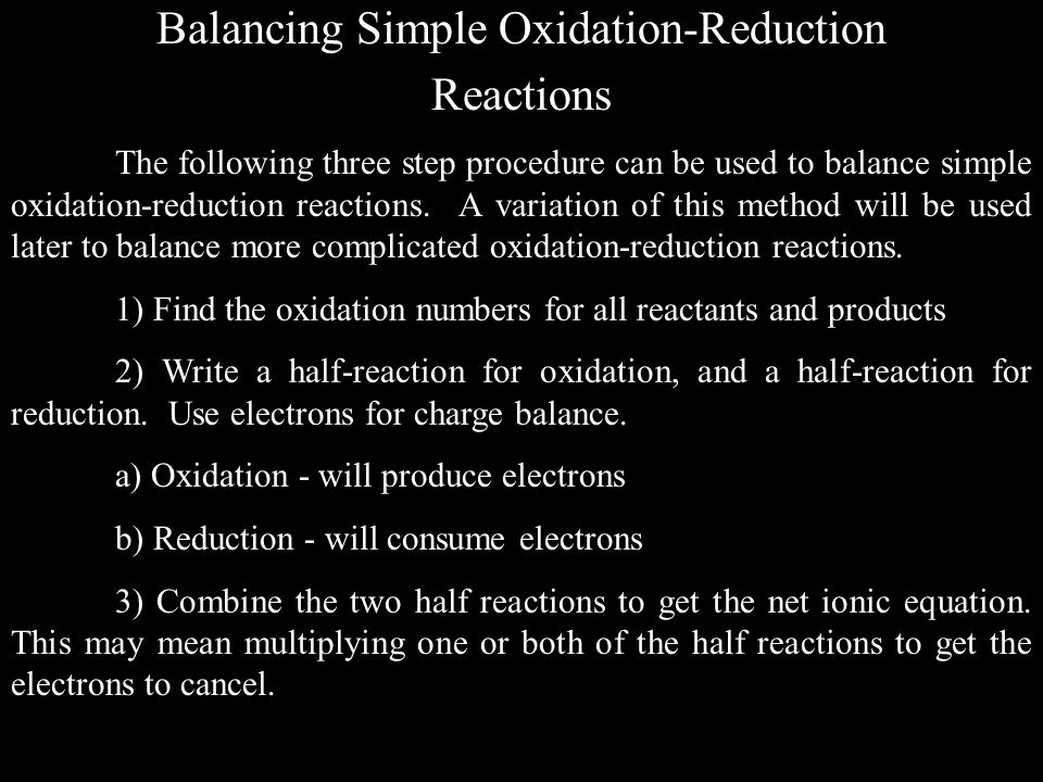 Balancing Simple Oxidation-Reduction