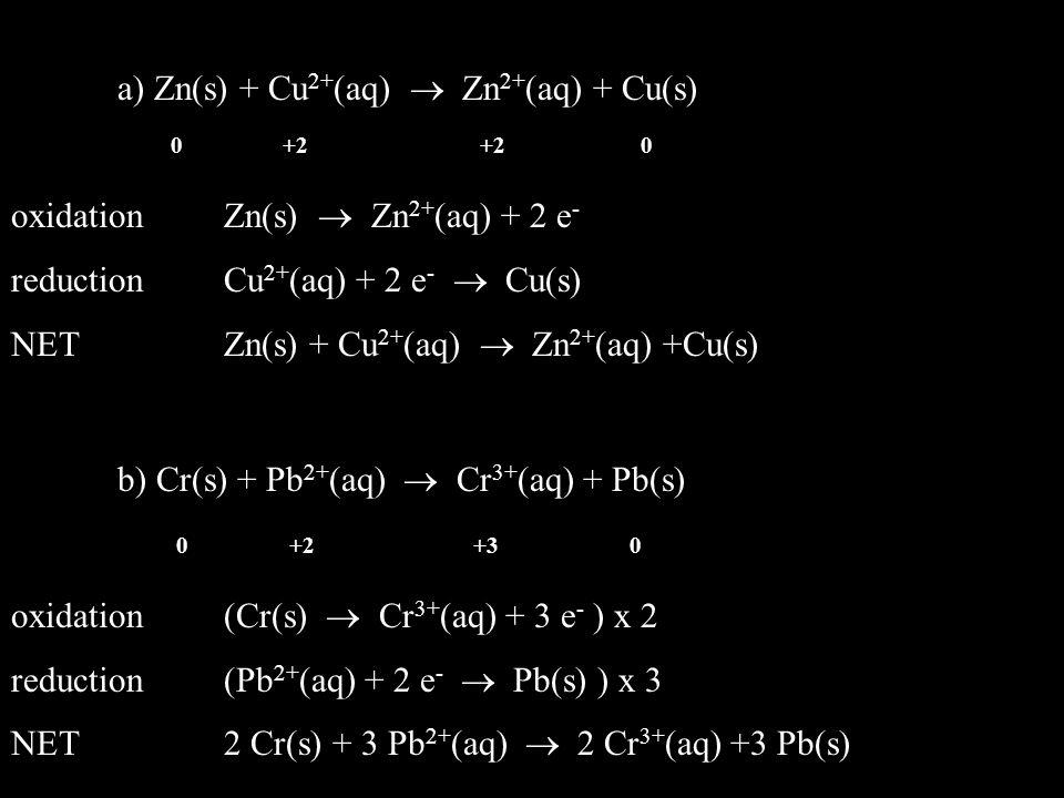 a) Zn(s) + Cu2+(aq)  Zn2+(aq) + Cu(s)